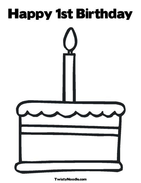 Happy 1st Birthday Coloring Page To keep the kids busy Birthday