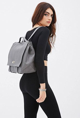 Gray Chevron Textured Faux Leather Backpack Handbag Purse | FOREVER21 - 1000055881 $35 CUTE