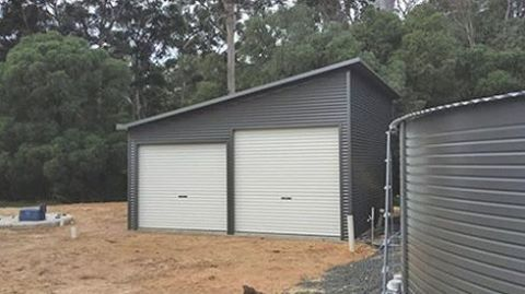Skillion Roof Double Garage With 11 Degree Roof Pitch 6m X 6m X 2 7m Genuine Colorbondsteel With Woodland Grey Wall Skillion Roof Shed Exterior House Colors