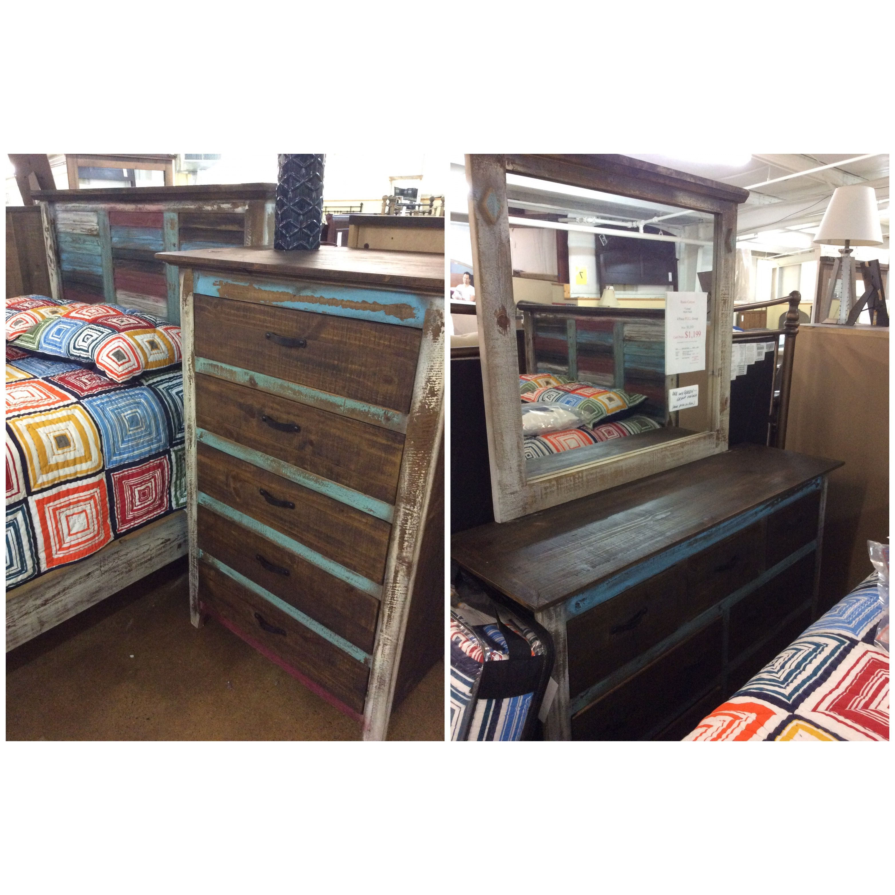 4 Piece Rustic Canyon Full Bedroom Group 1199 Furniture Bed
