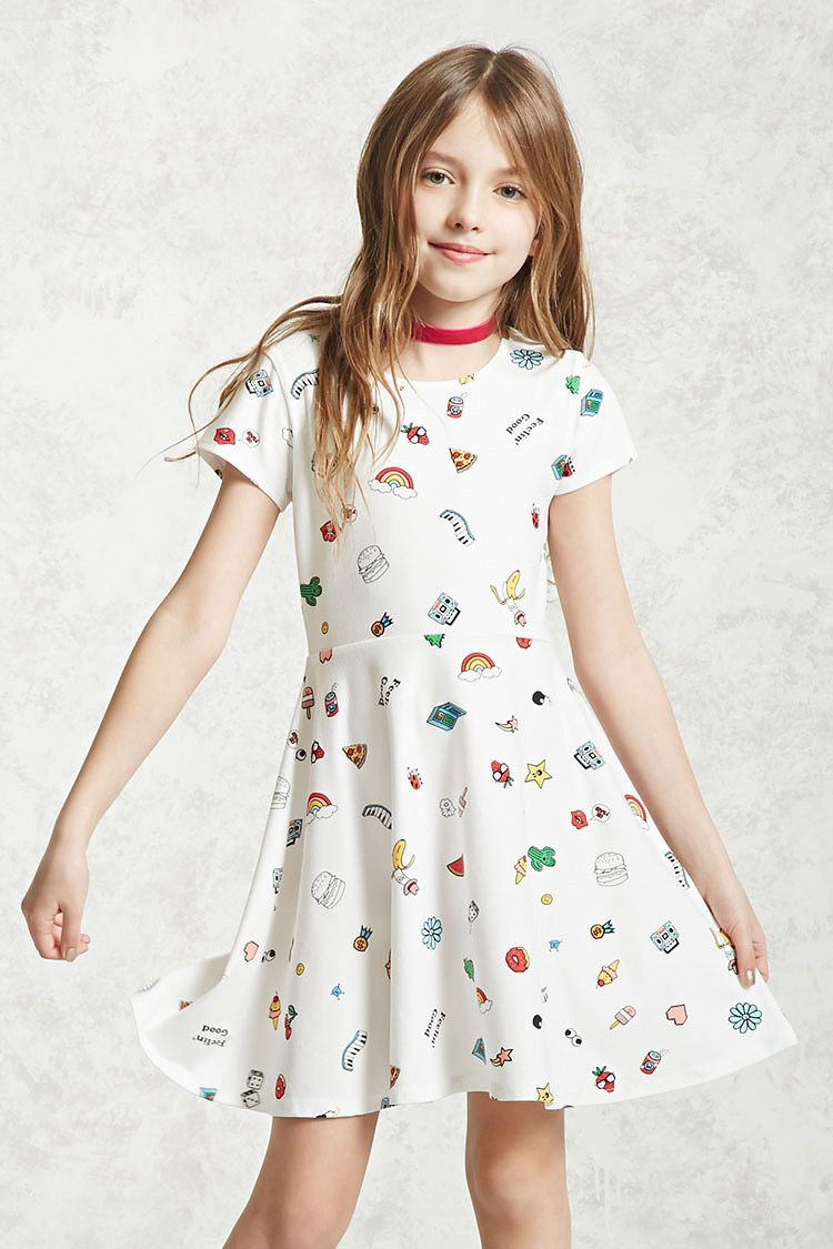 Forever 21 girls a knit skater dress featuring allover