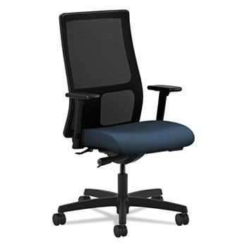 Ignition Series Mesh Mid-Back Work Chair, Cerulean Fabric Upholstered Seat