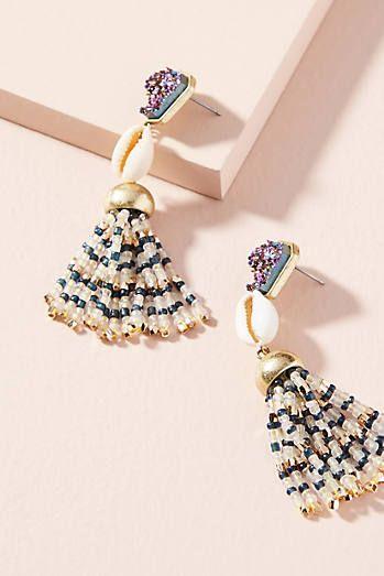 Cowrie Tassel Drop Earrings Drop Earrings Beaded Jewelry Fashion Jewelry