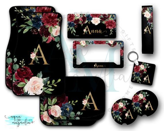 Burgundy & Navy Floral Car Accessories, Personalized License Plate, License Plate Frame, Car Floor