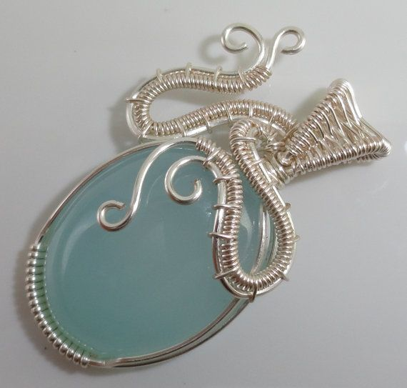 Aqua Chalcedony Wire Wrapped Pendant by maryolczyk on Etsy, $35.00