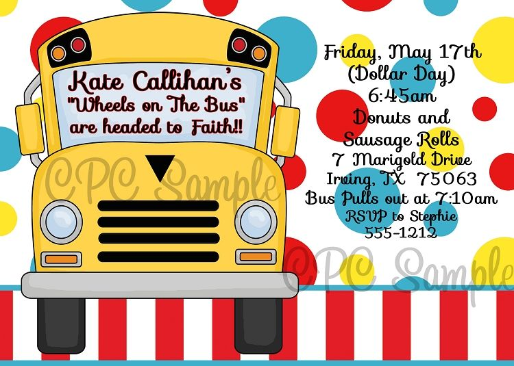 Wheels on the bus birthday party invitations printable or printed stopboris Images