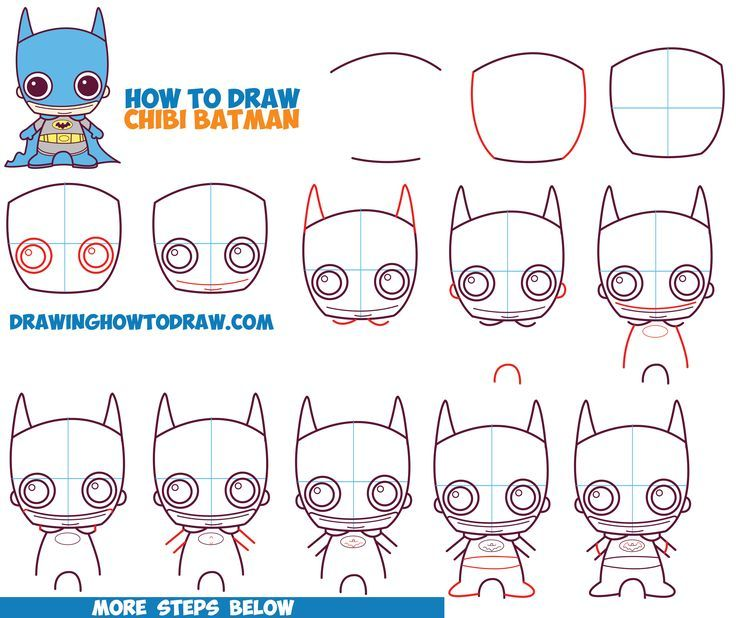 how to draw cute chibi batman from dc comics in easy step by step drawing
