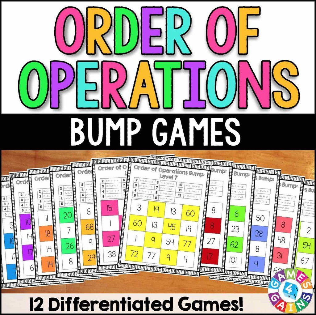 Order of Operations Bump Games Order of operations