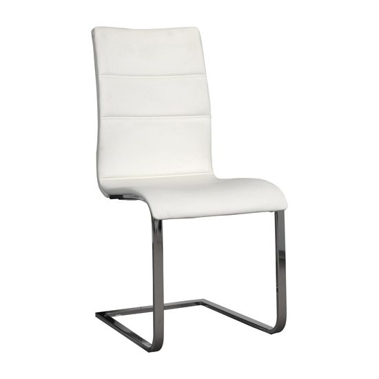 Elisa Dining Chair In White With Silver Legs In 2020 Dining