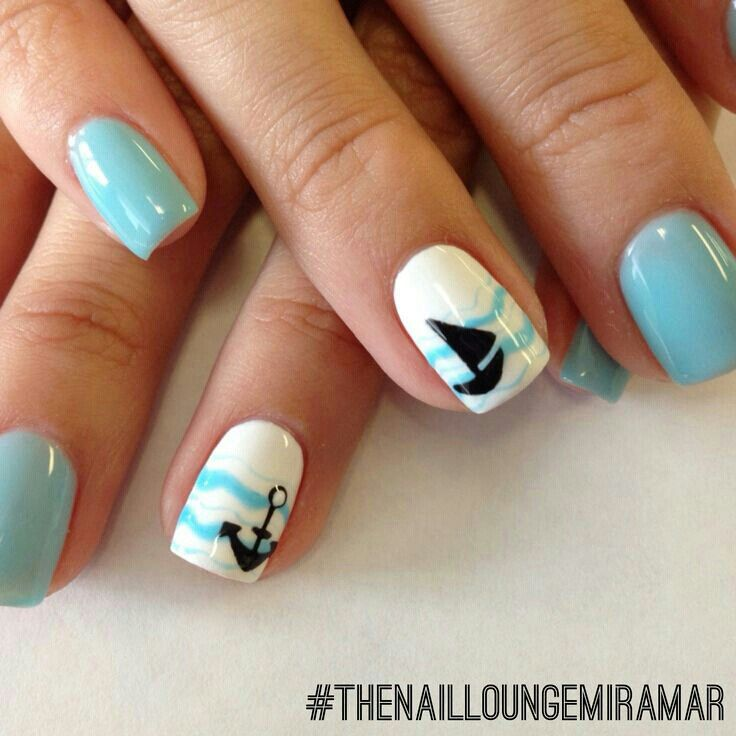 Cute Summer Nails With Anchors