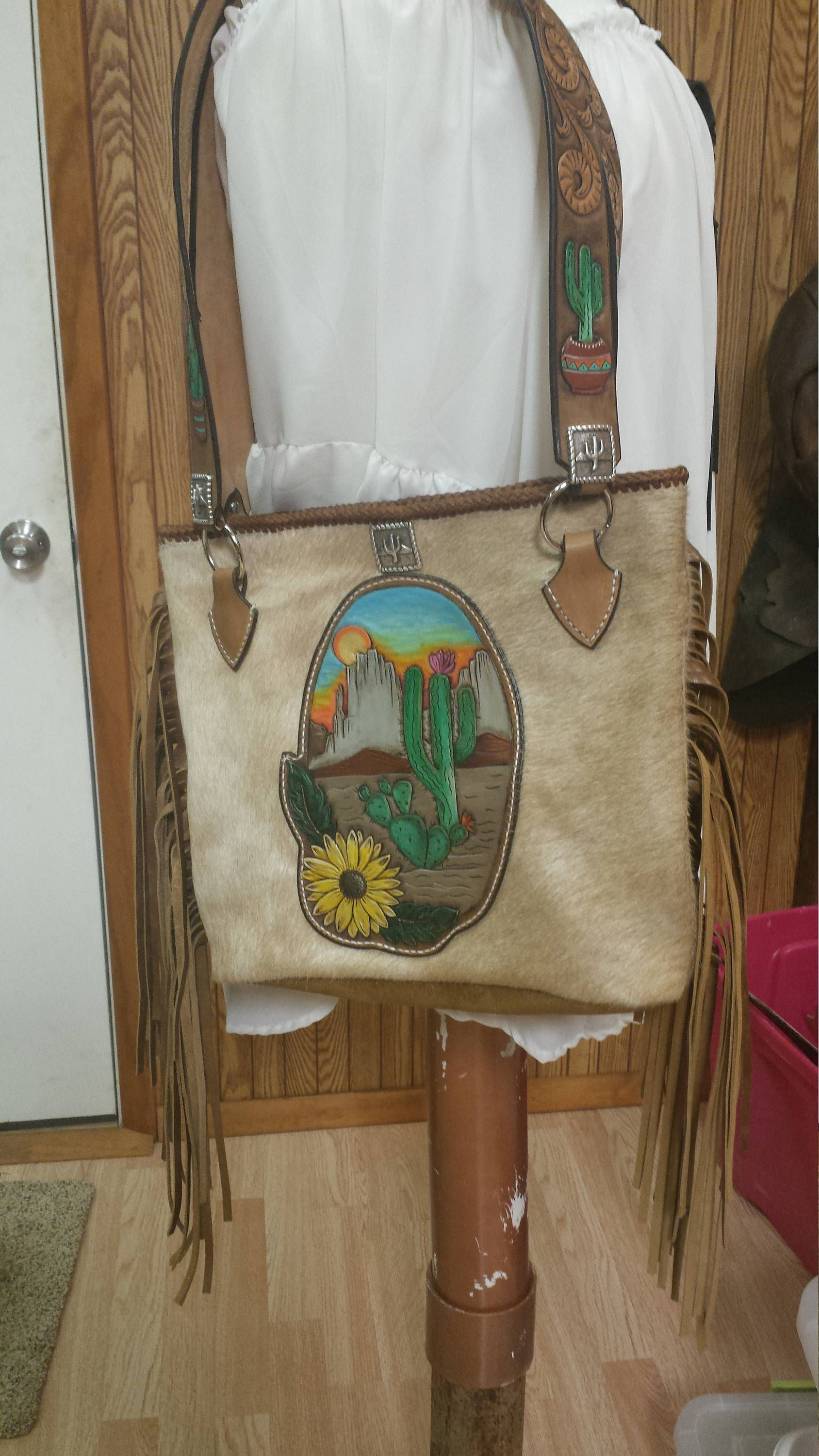 a46312423 Beautiful hand made leather hair on cow hide cactus bag by  FlyingFLeatherandArt on Etsy