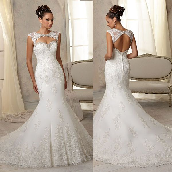 Hot Ing Fit And Flare Embroidered Liques Diamond Beading Y Little Mermaid Wedding Dress Detachable Keyhole