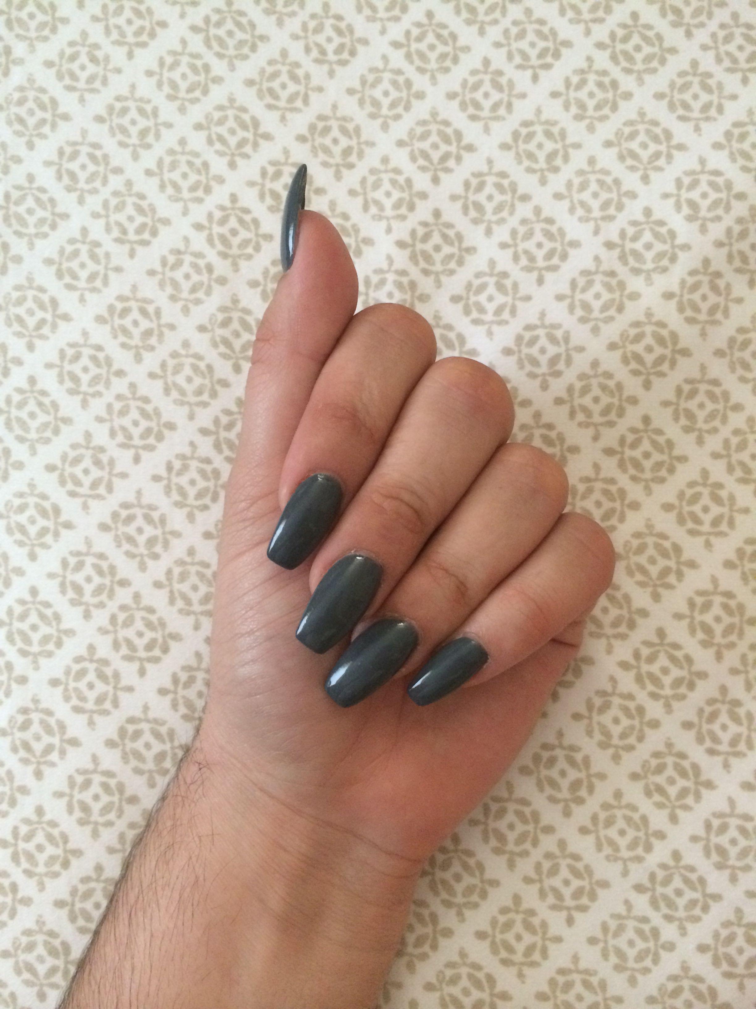 Long tapered square grey nails