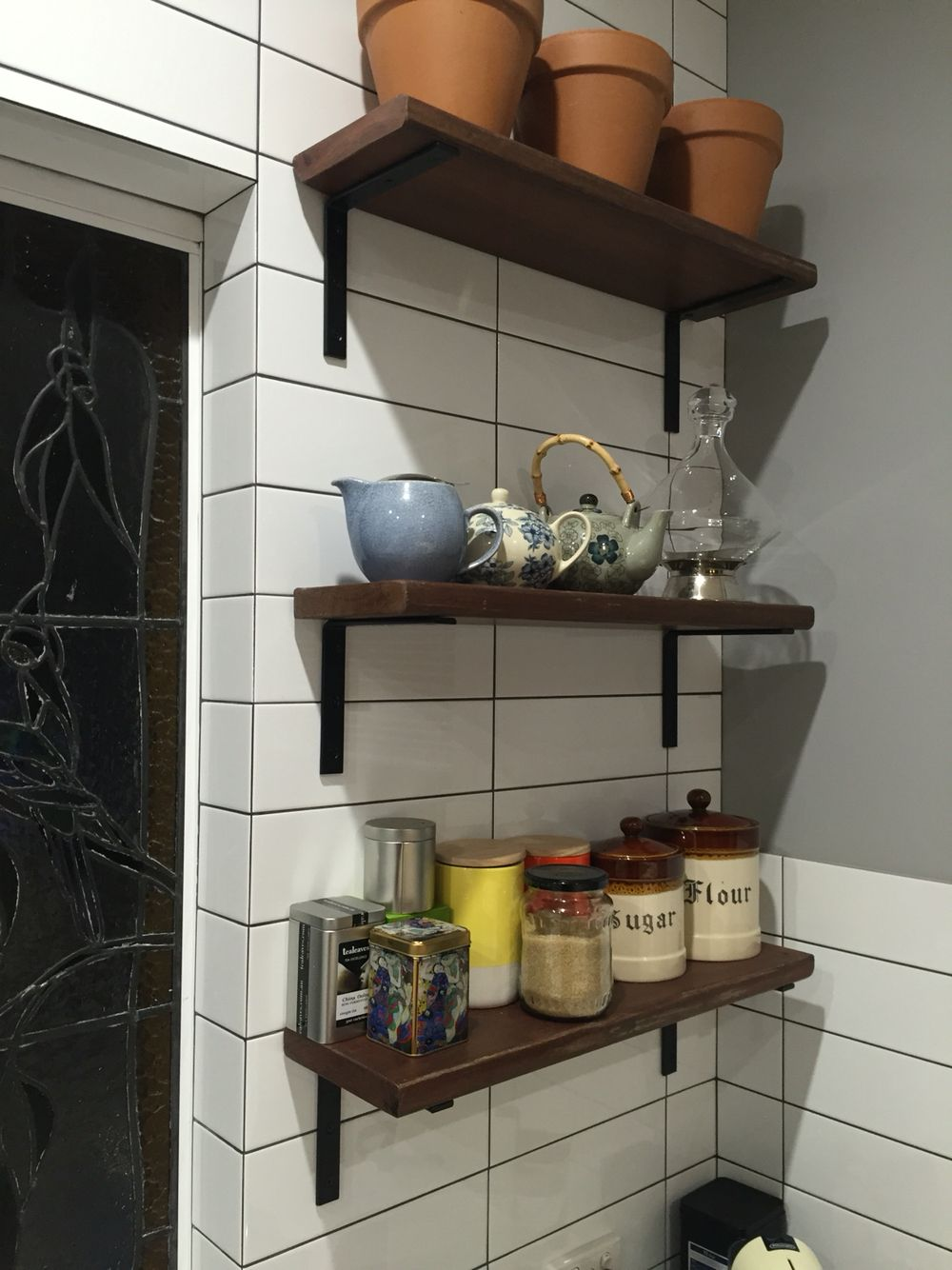 Kitchen shelves built from recycle jarrah from a