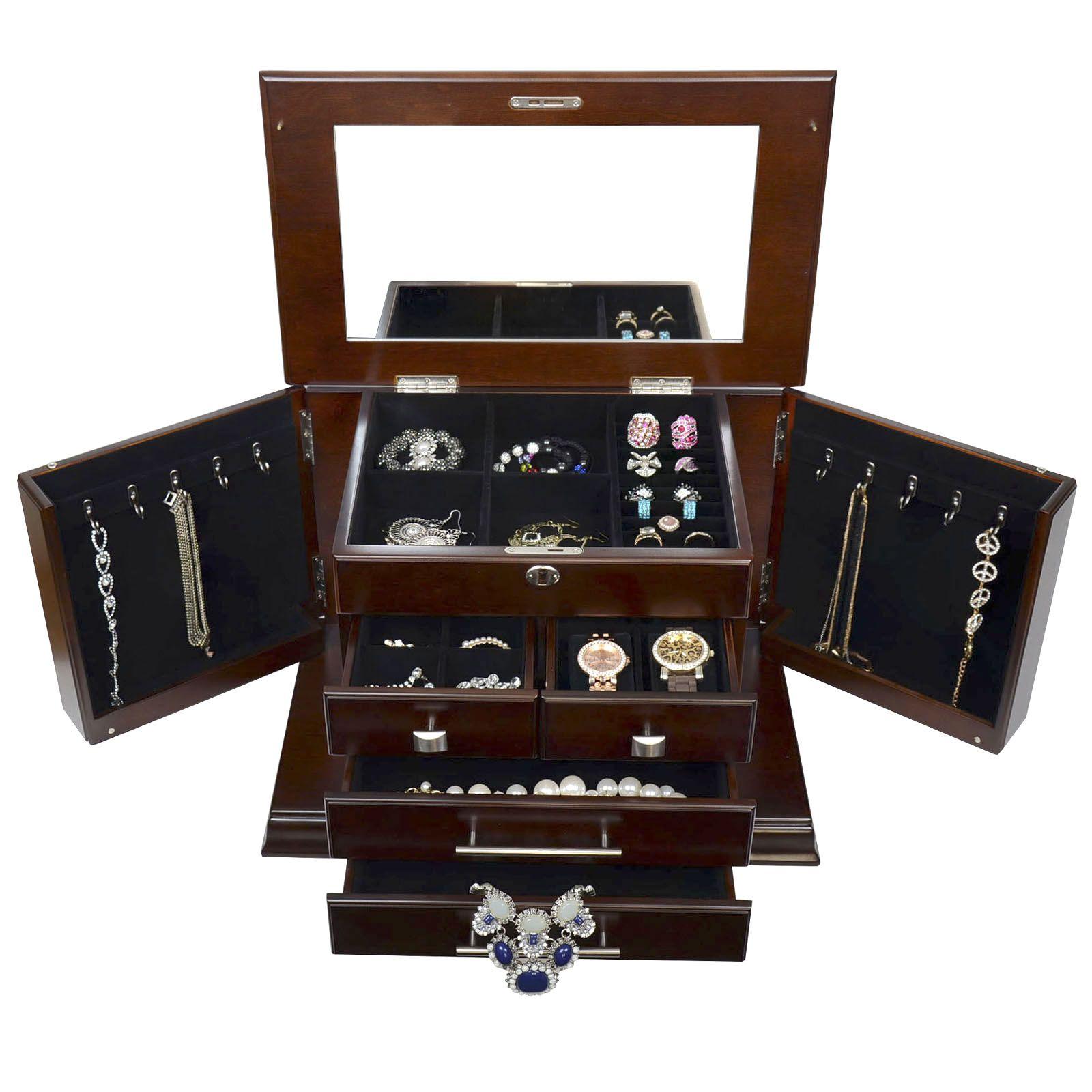 Large Mahogany Wood Finish Necklace Jewelry Box with Lock ...