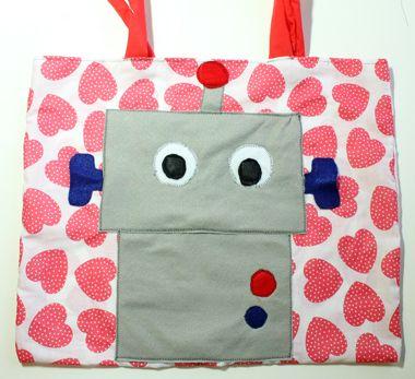 Bag - Robot Tote Tutorial  http://www.thecraftideas.com/kids/bag-robot-tote