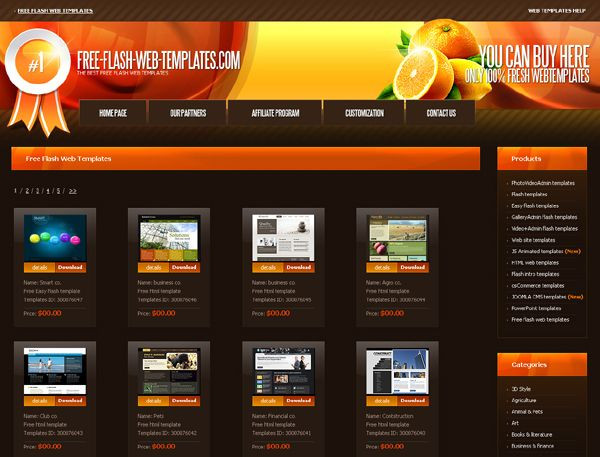 Web page templates flash free