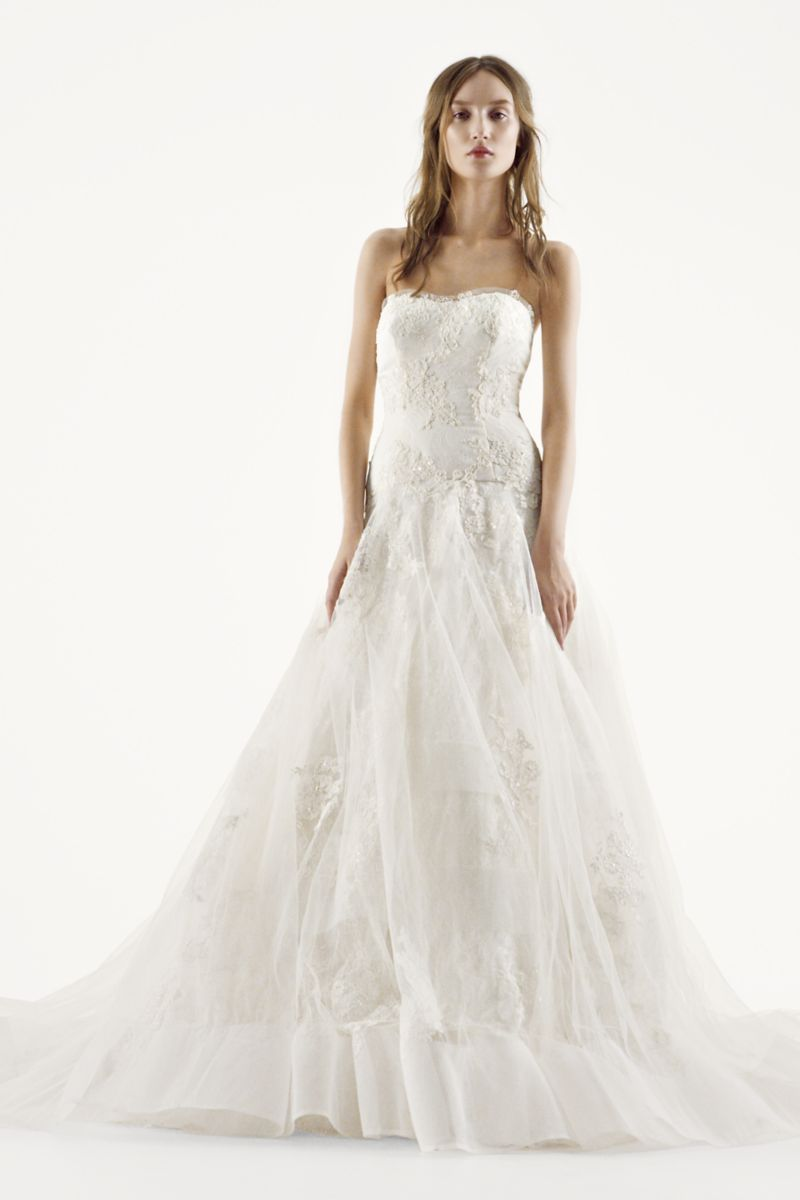 Extra length chantilly lace full a line gown style xlvw