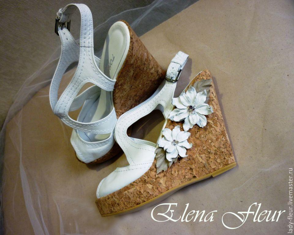 Купить Украшение из кожи на туфли - белый, бежевый цветок, белый цветок, белые цветы