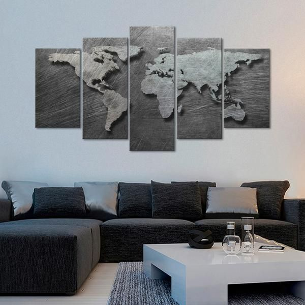 3d Steel World Map Multi Panel Canvas Wall Art World Map Wall Decor Living Room Canvas Prints Wall Canvas