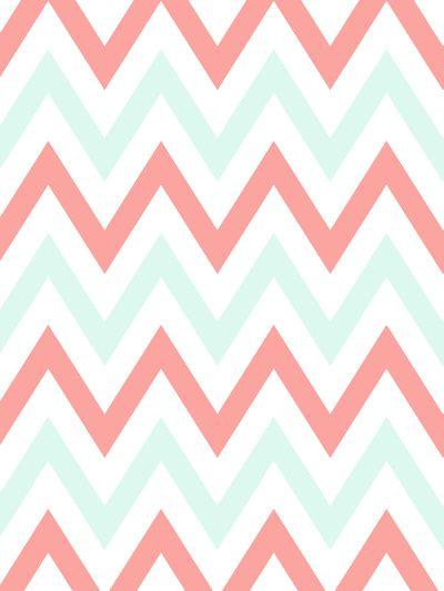 Mint Coral Chevron Art Print Pink Wallpaper Iphone Pattern