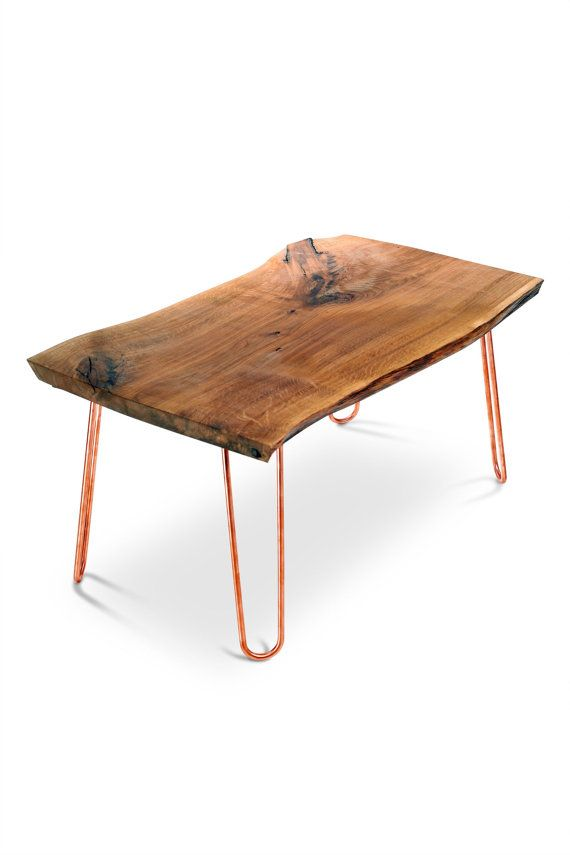 Live Edge Table with copper or brass hairpin legs. Mid century furniture.  Reclaimed wood furniture