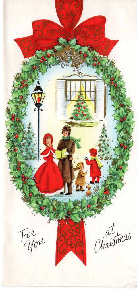 vintage christmas card victorian caroler under a window _ glitter ebay