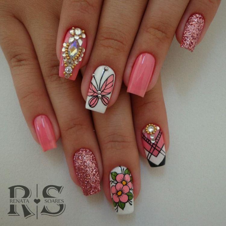 27 Fotos de Unhas decoradas com flores e joias – Passo a passo | Stylish  nails art, Pretty nails, Swag nails
