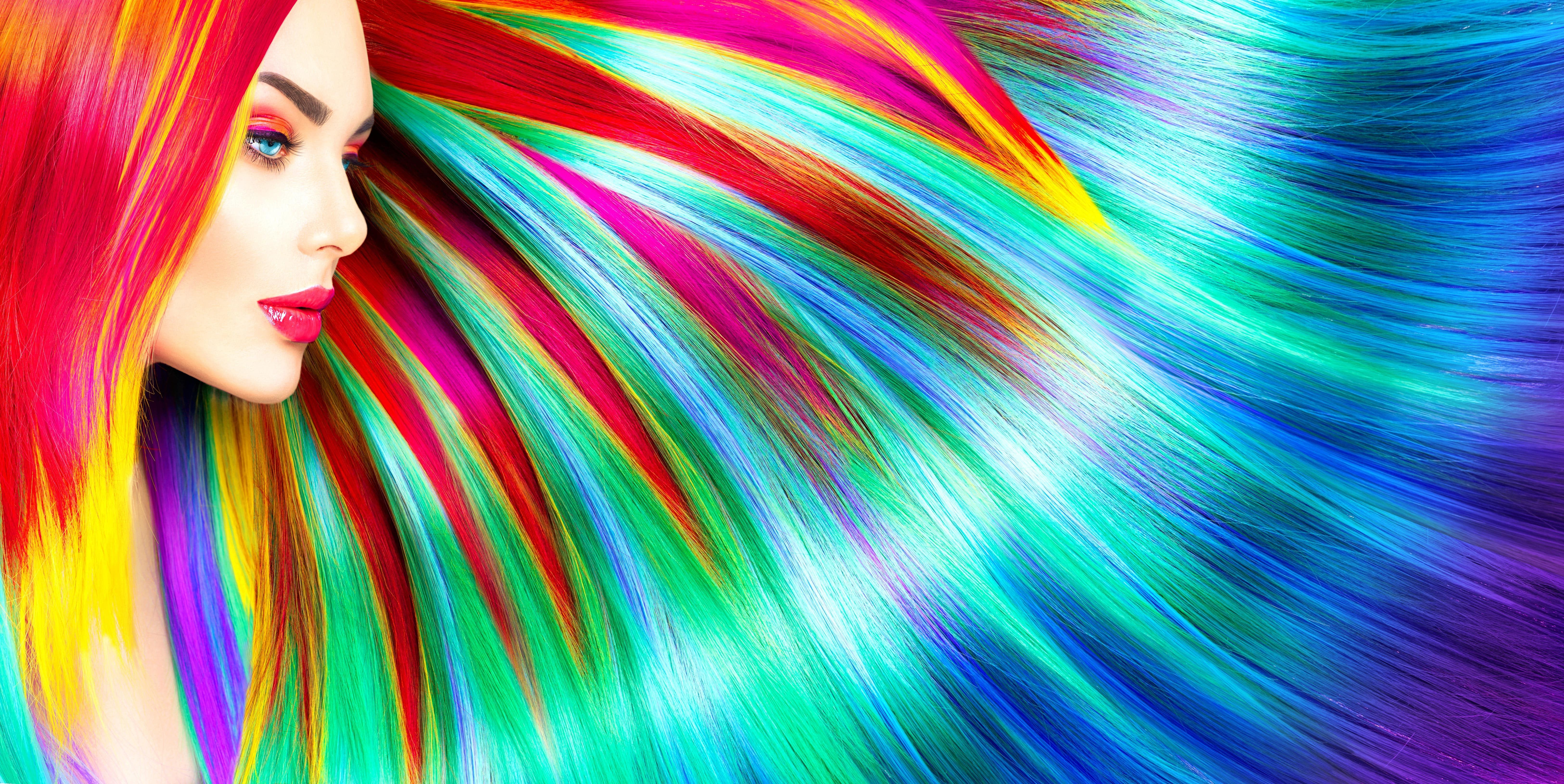 Rainbow Colorful Girl Hairs 6k Wallpaper Backgrounds Girl