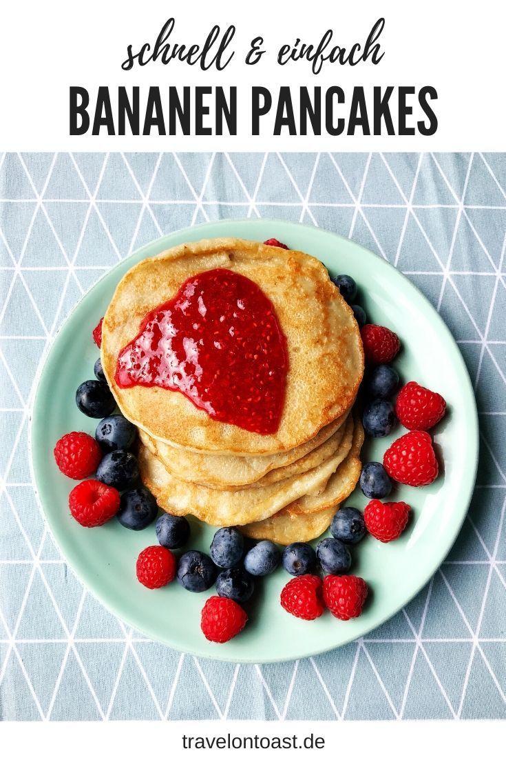 Geniales Bananen Pancakes Rezept mit nur 4 Zutaten. So zauberst du schnell und einfach vegane Bananen Pfannkuchen ohne Ei und ohne Zucker. / vegan kochen / zuckerfreie Rezepte / ohne Zucker Rezepte / Bananen Rezept / Bananen verwerten / Bananen Pancakes vegan / Pfannkuchen Rezept  #Kochen #vegan #zuckerfrei