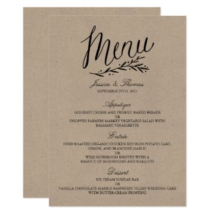 Elegant Kraft Wedding Menu Templates  Wedding Menu Template Menu
