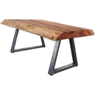 live edge redwood slab coffee table