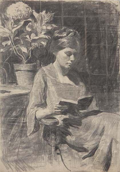 "huariqueje: ""  Portrait of Elsa Laubach - Daniel Garber , 1912 American, 1880-1958 Charcoal on Paper, 21 ½ x 15 ¼ in. """