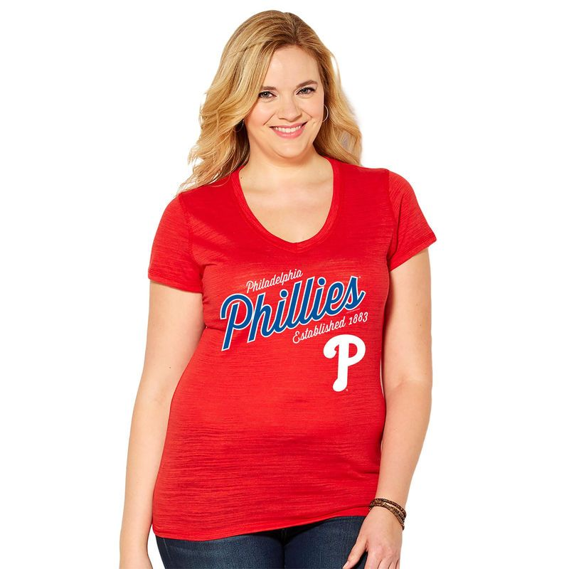 114018c8 Philadelphia Phillies Soft As A Grape Women's Plus Size Fastball V-Neck  T-Shirt - Red