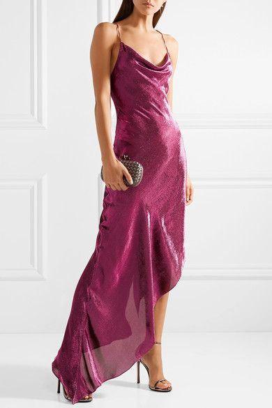 Asymmetric Metallic Stretch Silk-blend Maxi Dress - Plum Juan Carlos Obando i3uHQCU