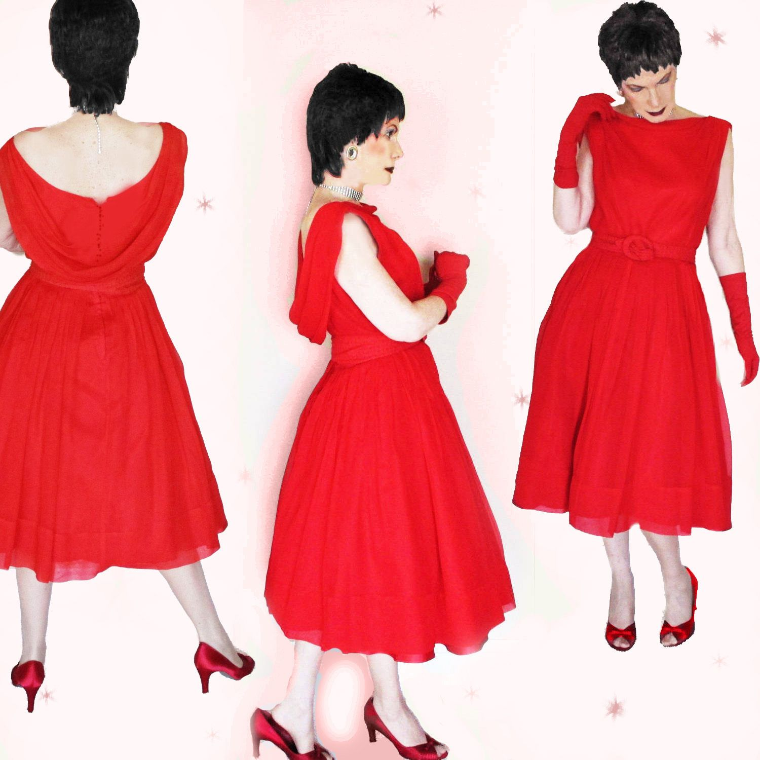 Red Chiffon Cocktail Dress Party Dress, Wedding Guest Dress with ...