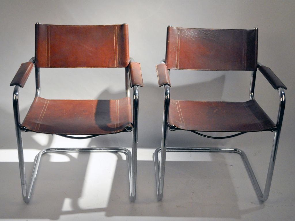 Pair Of Leather Chairs Armchairs With Tubular Metal Frame Image 2