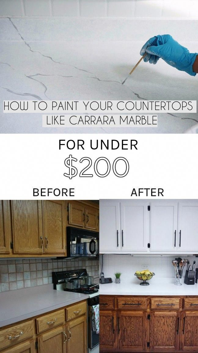 How To Paint Kitchen Countertops Like Carrara Marble Video
