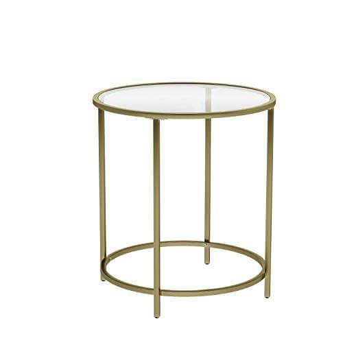 Vasagle Beistelltisch Rund Glastisch Mit Goldenem Metallgestell Kleiner Couchtisch Nachttisch Sofatisch Bal In 2020 Glass End Tables Side Table Stylish Side Table