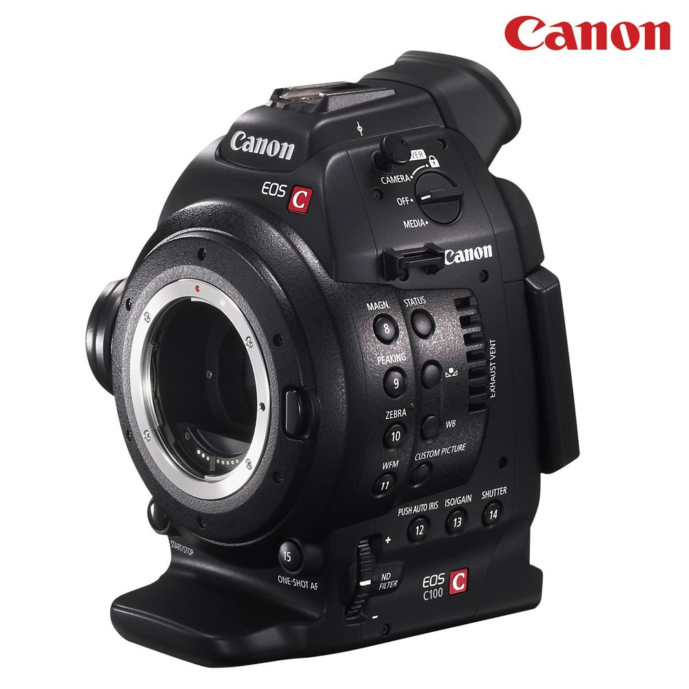 Canon Cinema EOS C100 EF super 35mm digital cinematography camcorder  With Canon's Super 35mm 8.3MP Bayer-filtered CMOS sensor at its core, the EOS C100 combines exceptional image quality with a design approximately 15% smaller than the advanced EOS C300.