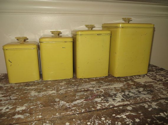Attractive Vintage Canisters Yellow Canister Set By VintageShoppingSpree, $35.00