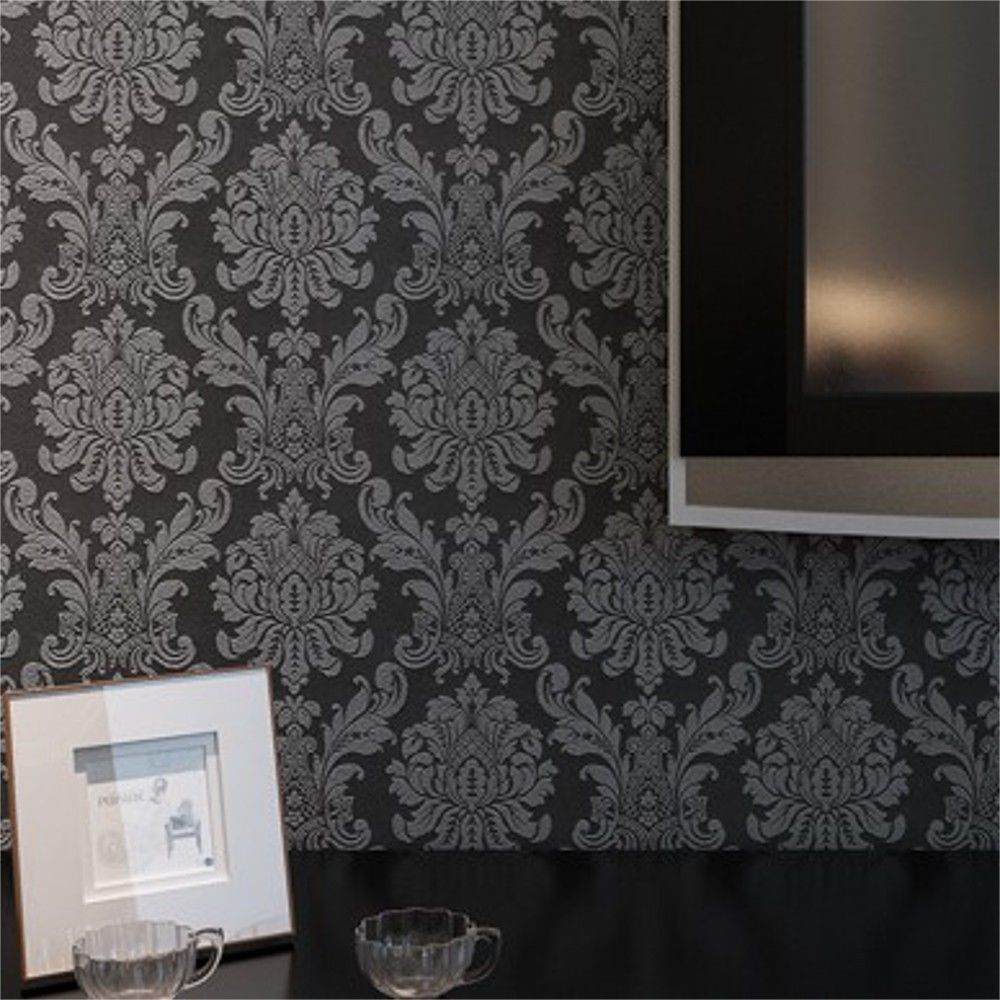 Texture Embossed Classic Damask Wallpaper Roll Black/Brown/Grey/White/Pink/Cream #Chinabrand