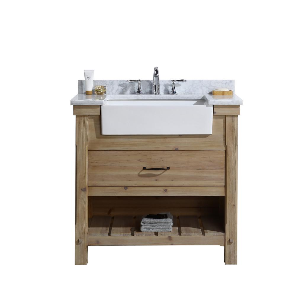 Ari Kitchen And Bath Marina 36 In Single Bath Vanity In Driftwood With Marble Vanity Top In Carrara White With White Farmhouse Basin Akb Marina 36dw With Images Marble Vanity Tops Kitchen And Bath