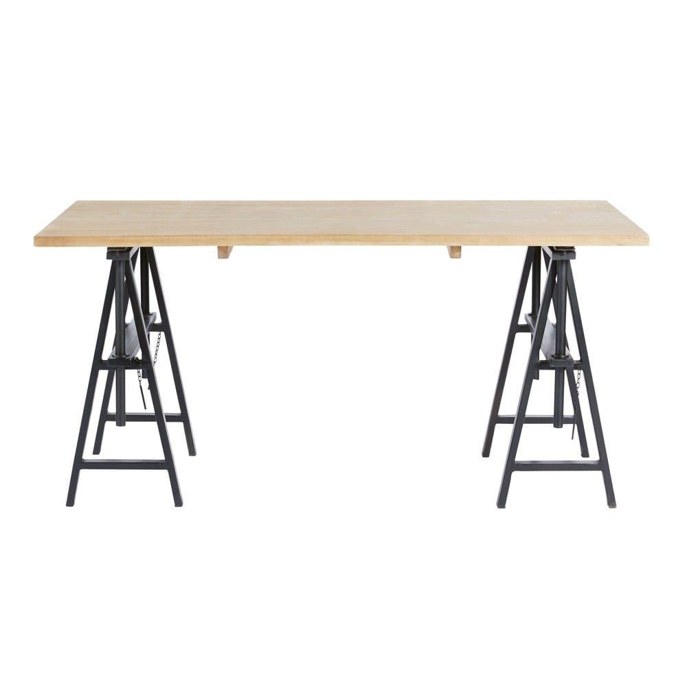 Scrivania Stile Industriale In Legno Massello Di Mango E Metallo Nera Century Maisons Du Monde Industrial Desk Solid Mango Wood Desk