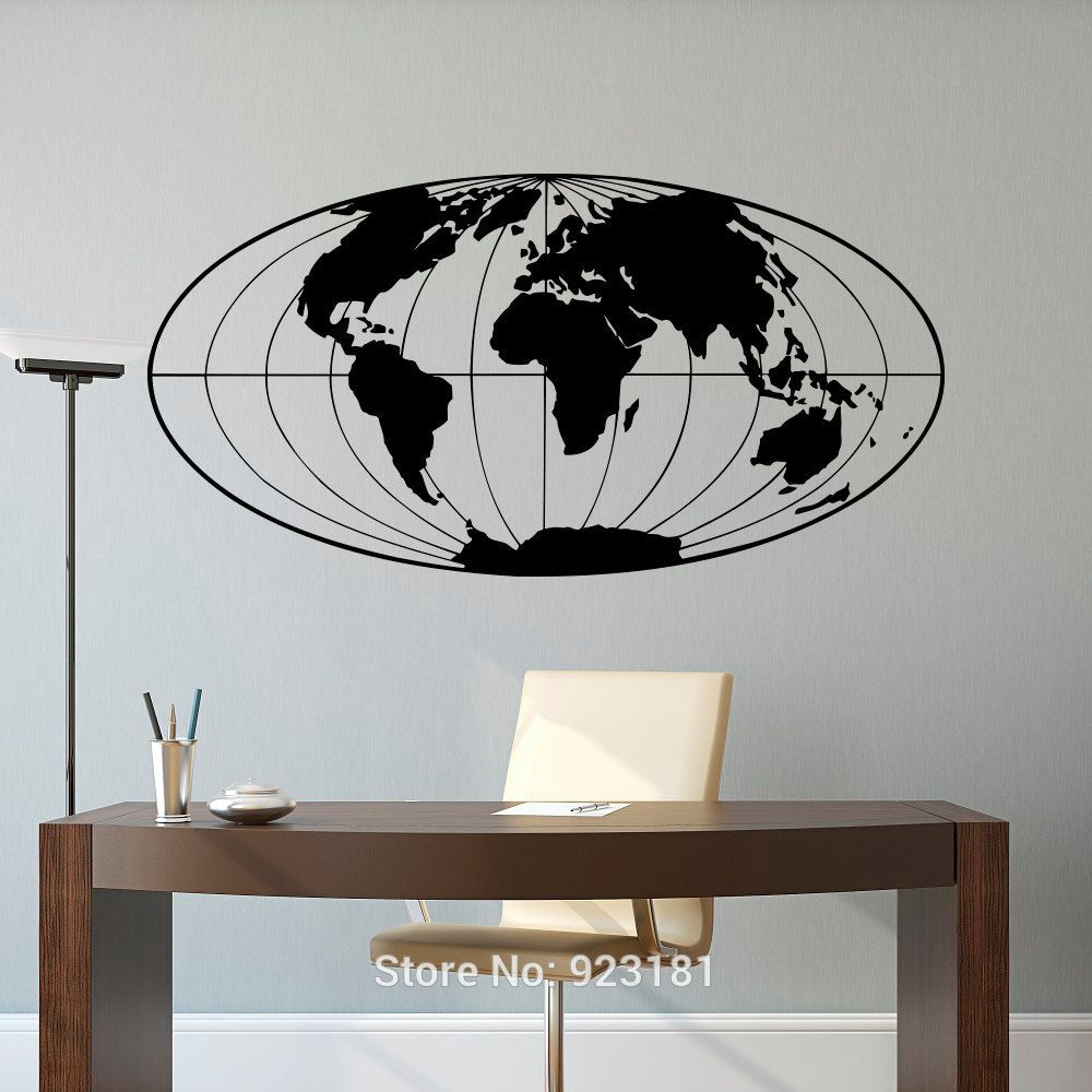 Planet Earth Geographical Globe World Map Wall