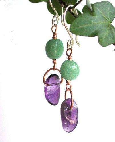 Tumbled Gemstone Earrings, Green Aventurine and Purple Amethyst Nugget   PebblesatmyFeet - Jewelry on ArtFire