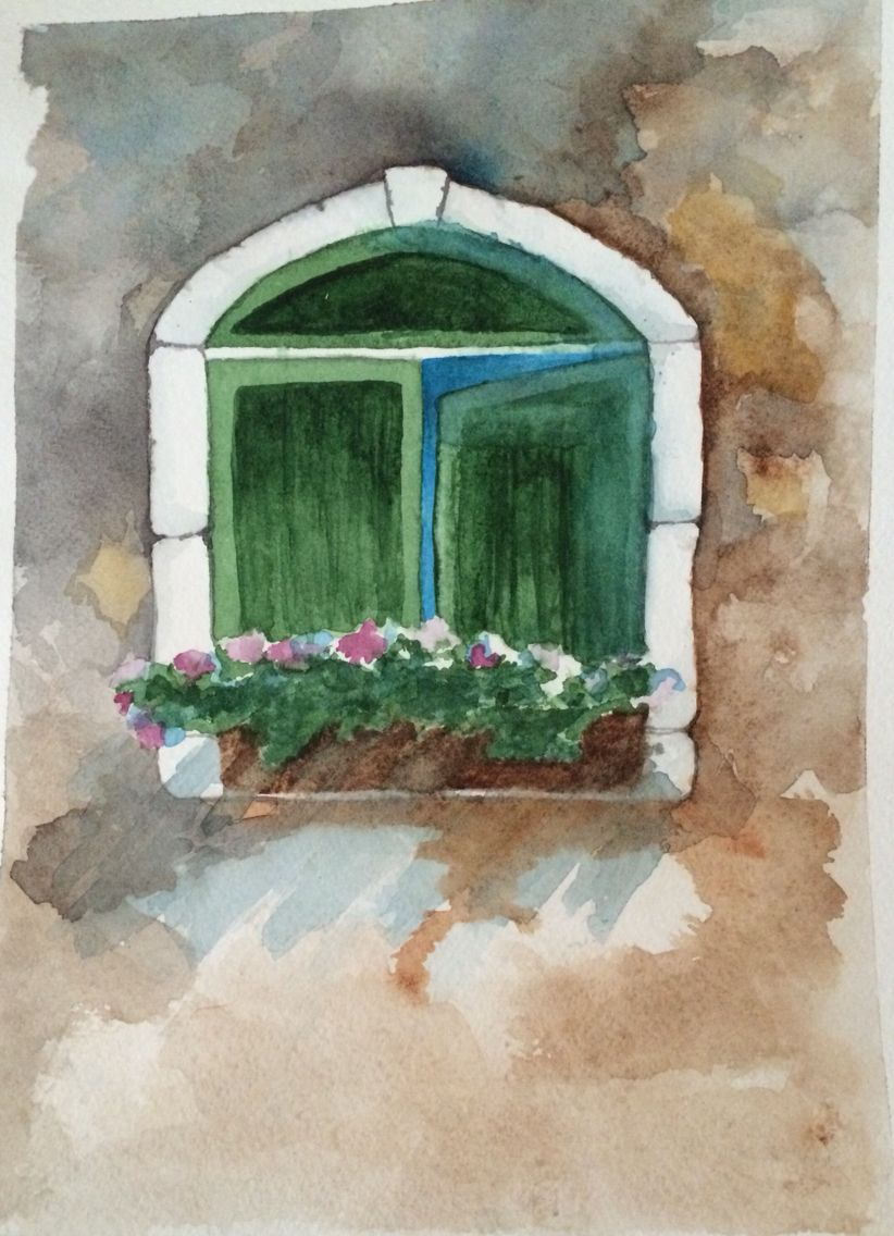 Window with flowers watercolor