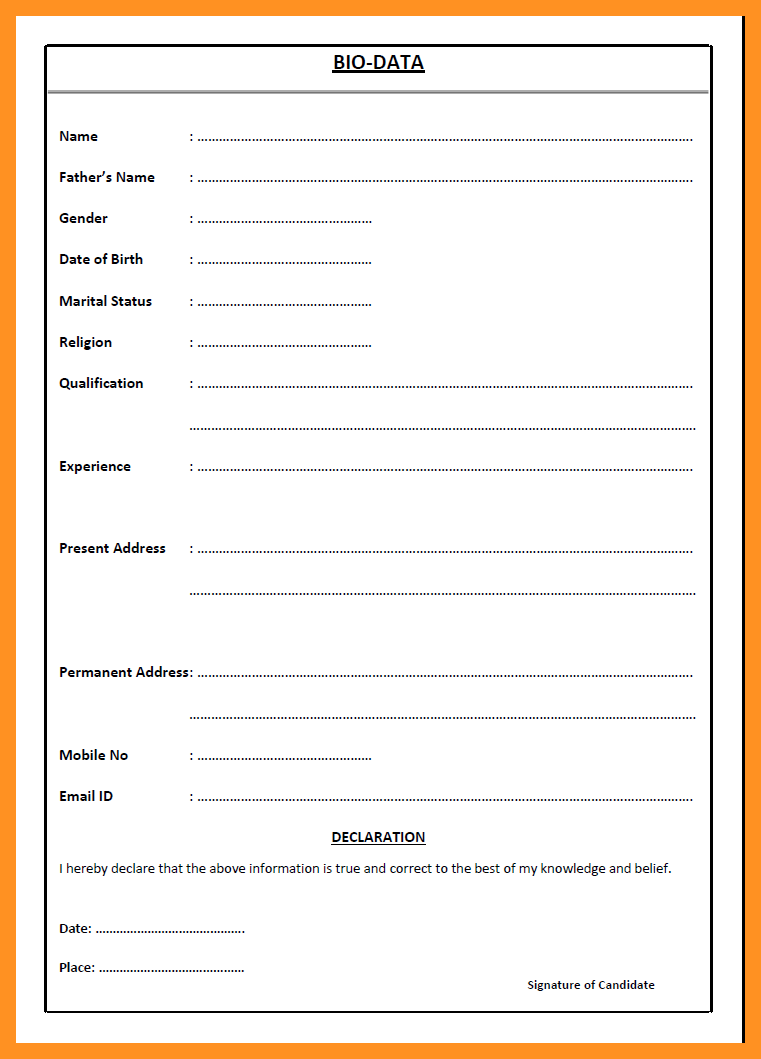 uncategorized  uncategorized simple bio data form biodata format for marriage pdf template