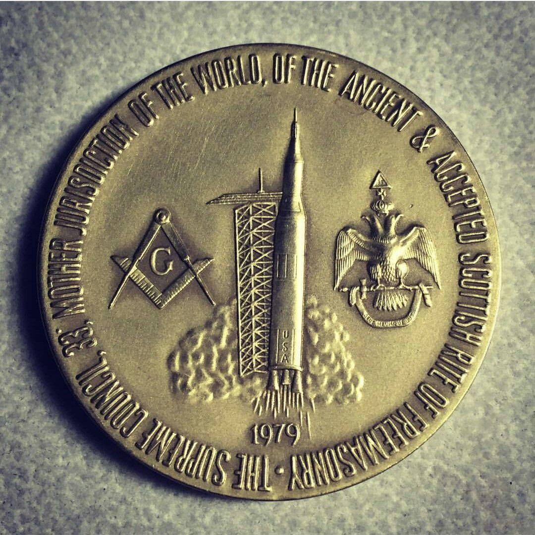 The Supreme 33° Mother Jurisdiction Of The World Of The Ancient & Accepted Scottish Rite Of FreeMasonry 1979 ( with NASA Rocket launch depicted)