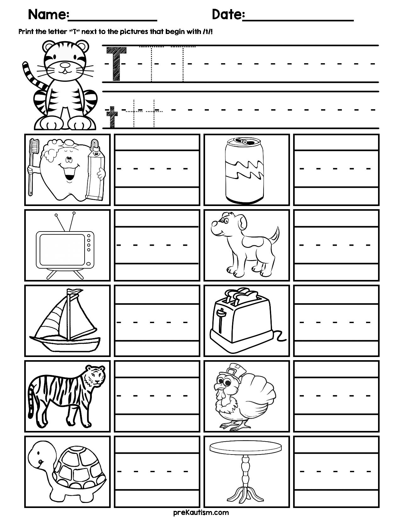 Initial Consonant Practice Worksheets